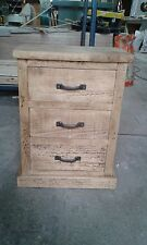 NEW SOLID WOOD RUSTIC CHUNKY PLANK 3 DRAWER WOODEN BEDSIDE TABLE MADE TO MEASURE