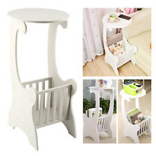 White Fashion Round Side Coffee Tea Table Book Rack Lamp Stand Home Furniture