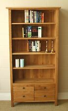 ASHLEY MILTON SOLID OAK TALL BOOKCASE drawers adjustable SHELVES RRP £850