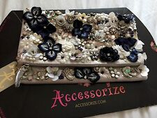 BNWT MONSOON ACCESSORIZE EMBELLISHED BEADED & PANSY FLOWER ENVELOPE  CLUTCH BAG