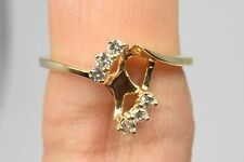 Women's .12 ct Diamond H/I1 GIA Spec Ring in 14k Solid Yellow Gold Sizable 7.25