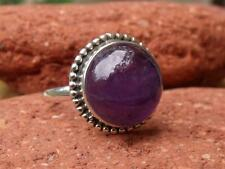 ROUND AMETHYST 925 SILVER RING SIZE Q 1/2 * US 8.5 HANDCRAFTED JEWELLERY