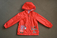 Girls Peppa Pig Red Coat with Pink Fleece Lining size 3-4 years