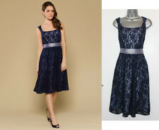 *MONSOON*Navy Crissy Lace Cocktail Embellished Sash Knee Length Dress sz-8