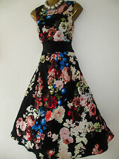 NEW SIZE 10 STUNNING VINTAGE ROSE PRINT, AUDREY, 50'S STYLE DRESS, WEDDING PARTY