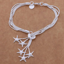 New Women Fashion 925 Sterling Silver Plated Star Charm Chain Bracelet Jewelry
