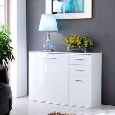 High Gloss Buffet Sideboard Unit Storage Cabinet Cupboard 2 Drawers 3 Doors