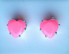 Light Pink Faceted Glass Claw Set Silver Tone Heart Stud Earring 8 x 8mm On Post