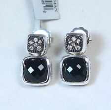 New David Yurman Chiclet Black Onyx Diamond Drop Earrings Sterling Silver $975