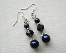 Navy Blue Pearl & Crystal Beaded Drop/Dangle PIERCED Earrings Jellybean#