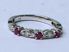 R103- Genuine Solid 9K White Gold NATURAL DIAMOND & Ruby Eternity Ring size M