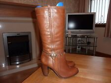 Ladies River Island Brown Leather Pull On Boots Eur 41 / 8 VGC More Like UK 7