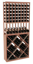 Wooden High Reveal Diamond Cube Combo Wine Cellar Rack Kit in Redwood. USA Made.