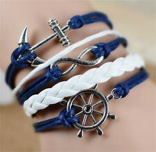 Infinity Love Hottest Sailor Anchor Leather Charm Bracelet plated Silver DIY