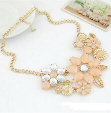 Hot Womens Elegant Pink Flower Choker Bib Statement Necklace Collar ChainPendant