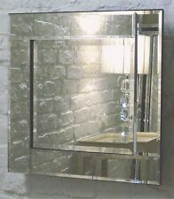 "Blenheim Silver Glass Framed Square Bevelled Wall Mirror 24"" x 24"" Medium"