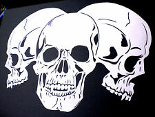 high detail airbrush stencil three large skulls FREE UK POSTAGE