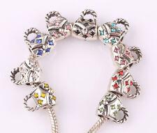 10pcs mix LAMPWORK CZ big hole spacer beads fit Charm European Bracelet HH562