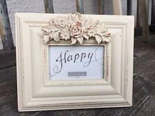 Clayre & Eef Bilderrahmen Fotorahmen Blüten weiß Relief Vintage Shabby Landhaus