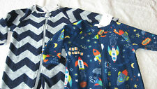 Next 3-6 months 2x FLEECE SLEEPSUITS *BNWT* New Pyjamas Baby Grow Boy Onesies