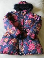 BNWT Girls Monsoon Blue Pink Floral Padded Fur Trimmed Hooded Coat Age 12-13 yrs