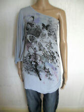 NEXT BLUE/GREY ONE SHOULDER SEQUIN OVERSIZED BUTTERFLY TOP SIZE 8