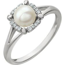 Genuine .05 ctw Diamonds & Cultured Freshwater Pearl Halo Style Ring in 14K Gold