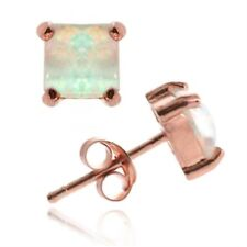 18K Rose Gold over 925 Silver Created White Opal 6mm Square Stud Earring