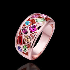 18ct 18k Rose Gold Plated GP Muticolor Ring Woman Sz8 R-A298