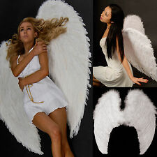100cm X 80cm Feather Wing Wings White Angel Fairy Adults Dress Costume Halloween