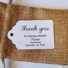 10x White Colour Christening Baptism Gift Tags Bomboniere Favor personalised