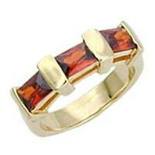 14K GOLD EP 2.8CT GARNET BAGUETTE RING SIZE 6 or M