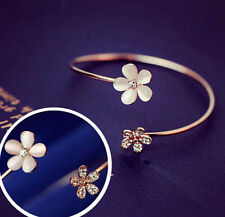 Fashion Charm Women Flower Cuff Bracelet Bangle Crystal Gold Plated Jewelry Gift