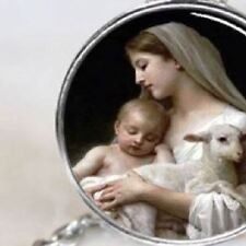 Mother Mary with Baby Jesus and Lamb, Silver Religious Pendant Necklace Jewelry
