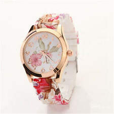Ladies Girls Floral Silicone Strap Jelly Analog Quartz Wrist Watch