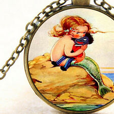 New Mystical Ocean Mermaid Girl holding Golliwogs, Pendant Necklace Xmas Gift