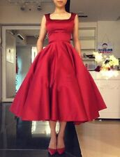 New Satin Red Formal Tea Length Wedding Dress Cocktail Prom Party Evening Gown
