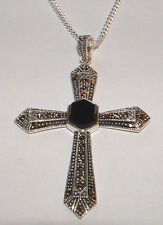 NEW Onyx and 925 Sterling Silver Cross Pendant with Marcasite + 22 inch Chain