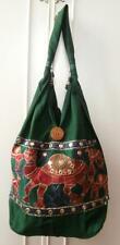 BNWOT Vintage 1990's (Approx) Green Cotton Camel Embroidered Hippy Shoulder Bag