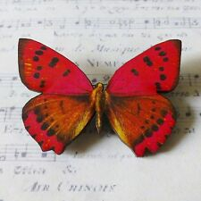 GORGEOUS RED PINK BLACK BUTTERFLY WOODEN BROOCH BADGE PIN 50mm