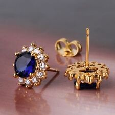 Lovely design sapphire 24k yellow gold filled luxury stud earring