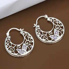 925 Stamped Sterling Silver Filled SF Filigree CZ Hoop Earrings E-A502