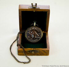 Pocket Watch - Kooka Burra Antique with Chain & Rosewood Box