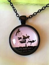 Peter Pan Flying Silhouette Glass Cabochon Dome Pendant Necklace. Movie TV. NEW