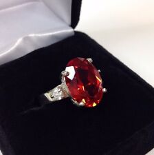 BEAUTIFUL 8ct Orange Padparadscha & White Sapphire Sterling Silver Ring 7 NWT
