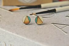 Geometric Pattern Wooden Lasercut Round Stud Earrings handpainted