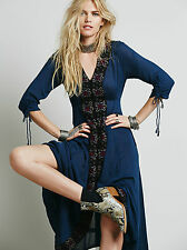 NEW FREE PEOPLE Journey To The Horizon Blue Dress - US 2 AU UK 6 8 - Boho Gypsy