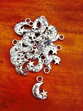 Antique Silver Moon and Stars Charms / Pendants x 15