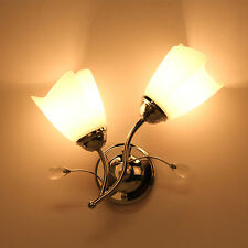 Chrome Frosted Glass Wall Lights Sconce Corridor Living Room Lamp 2 Flowers BY
