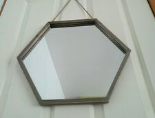 44cm Wooden Framed HEXAGONAL WALL MIRROR New Rustic Rope Hanging LARGE HEXAGON